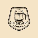 Kraft beer mug logo. Lager cup retro sign. Hand sketched ale glass illustration. Vector vintage homebrewing label,badge. Kraft beer mug logo. Lager cup retro royalty free illustration
