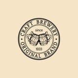 Kraft beer mugs logo. Lager cups retro sign. Hand sketched ale illustration. Vector vintage homebrewing label or badge. Stock Images
