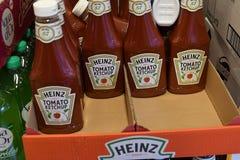 Kraft heinz tomato ketchup sale in Copenhagen. Copenhagen /Denmark./ 17.April 2019/ American kraft heinz tomato ketchup on sale in danish grocery store in royalty free stock image