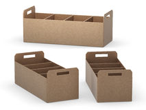 Kraft paper document tray with separators, clipping path include Royalty Free Stock Photography