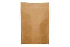 Kraft paper doypack bag with zipper on white background Stock Photography