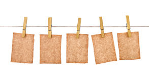 Kraft paper hang from clothespins Stock Images