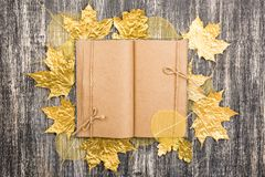 Kraft paper notebook with autumn golden maple leaves. royalty free stock photos