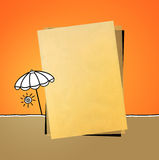 Kraft  paper & parasol Royalty Free Stock Image