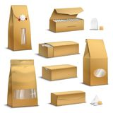 Kraft Paper Tea Packs Realistic Stock Photos
