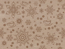 Kraft paper textured seamless christmas pattern with coffee bean Stock Image