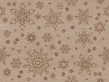 Kraft paper textured seamless christmas pattern with coffee bean Stock Images