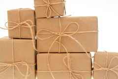 Kraft paper tied with string on a white background.  royalty free stock photo