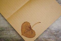 Kraft papper med det torkade bladet överst och att ligga på trätabellyttersida Med kopieringsutrymme som firar händelse eller til royaltyfria foton