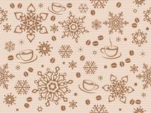 Kraft papper texturerade den sömlösa julmodellen med kaffebönan Arkivfoto