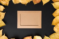 Kraft photo frame on a black background with autumn leaves of ye Stock Photos