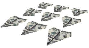 Kraftflugzeug von den Dollar fliegt oben Lizenzfreies Stockfoto