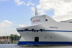 Kraftica leaving the port of Lubeck Royalty Free Stock Image