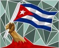 Kraftig hand som lyfter flaggan av Kuban stock illustrationer