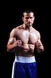 Kraftig muskulös boxare Arkivbild