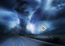 Kraftig storm och tromb Arkivfoton