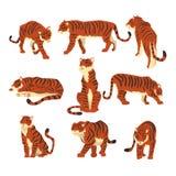 Kraftig tiger i olik handlinguppsättning av tecknad filmvektorillustrationer på en vit bakgrund royaltyfri illustrationer
