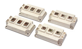 Kraftiga IGBT-transistorer som isoleras på vit bakgrund Royaltyfria Foton