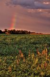 Kraftiga och härliga stormmoln på solnedgången förutom Sioux Falls, South Dakota under sommar arkivfoton