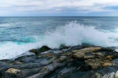 Kraftiga vågor som kraschar på en stenig kustlinje Fotografering för Bildbyråer