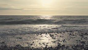 Kraftiga vågor tvättar Pebble Beach på en seacoast i solstrålar lager videofilmer