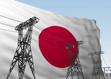 Kraftledningar mot bakgrundsflagga av Japan royaltyfri illustrationer