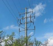 Kraftledningservice, h?g sp?nning, isolatorer och tr?dar royaltyfria bilder