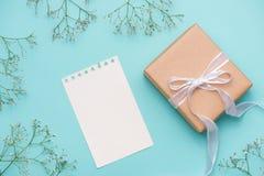 Kraftpapiergeschenkbox gebunden mit weißem Band und Blumen für Motte Lizenzfreie Stockfotografie