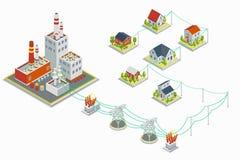 Kraftstation och infographic fördelningsvektor för elektrisk energi isometriskt begrepp 3D vektor illustrationer