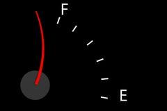 Kraftstoffschauzeichen, das über voll darstellt Lizenzfreie Stockfotografie