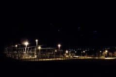 Kraftverk på natten Fotografering för Bildbyråer
