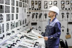 Kraftverkarbetare arkivfoto