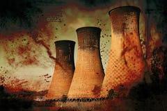 Kraftwerk - globale Erwärmung Stockfotografie