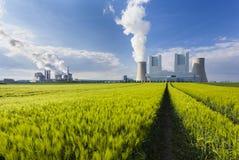 Kraftwerke und Rye-Feld stockfoto