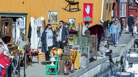 Springtime activity on the fjord coast, easter in Norway. Kragero, Norway - April 12, 2015: Easter traditions in southern Norway: organic farming market - ` royalty free stock image