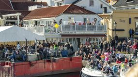 Springtime activity on the fjord coast, easter in Norway. Kragero, Norway - April 12, 2015: Easter traditions in southern Norway: organic farming market - ` stock image