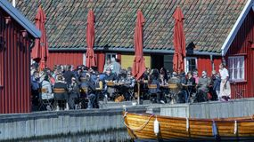 Springtime activity on the fjord coast, easter in Norway. Kragero, Norway - April 12, 2015: Easter traditions in southern Norway: organic farming market - ` stock photo