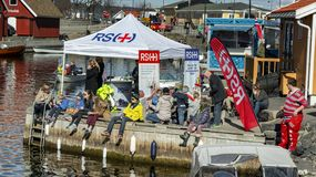 Springtime activity on the fjord coast, easter in Norway. Kragero, Norway - April 12, 2015: Easter traditions in southern Norway: organic farming market - ` royalty free stock photography