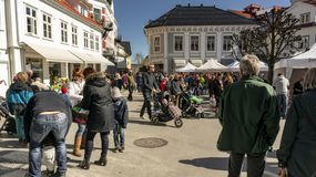 Springtime activity on the fjord coast, easter in Norway. Kragero, Norway - April 12, 2015: Easter traditions in southern Norway: organic farming market - ` royalty free stock photos
