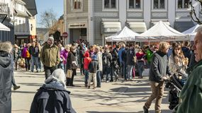 Springtime activity on the fjord coast, easter in Norway. Kragero, Norway - April 12, 2015: Easter traditions in southern Norway: organic farming market - ` royalty free stock images