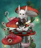 Krain cudów serie - Biały królik z zegarem siedzi na pieczarce Fotografia Stock