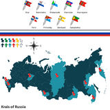 Krais of Russia. Vector of krais of Russia with russian map and flags Royalty Free Stock Images