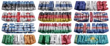 Krajów europejskich (Od E, K) flaga słowa Zdjęcia Stock