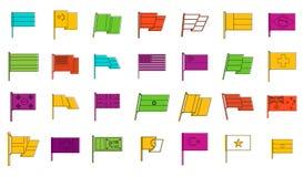 Kraj flaga ikony set, koloru konturu styl Obrazy Stock