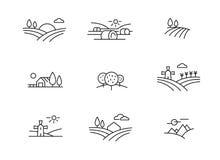 Kraj krajobrazowe ikony, wektoru cienki kreskowy styl royalty ilustracja