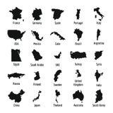 Kraj mapy ikony set, prosty styl Zdjęcia Royalty Free
