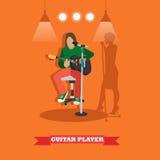 Kraj piosenki gitarzysta bawić się gitarę Muzyczny zespołu rockowego pojęcia sztandar Wektorowa ilustracja w mieszkanie stylu pro ilustracja wektor
