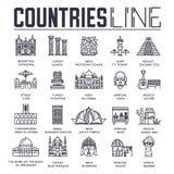 Kraj podróży collextion set Set architektura, moda, ludzie, rzecz, natury tła pojęcie Infographic Obrazy Royalty Free