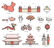 Kraj podróży wakacje Porcelanowy przewdonik towary, miejsca w cienkim linia stylu projekcie Set architektura, moda, ludzie Obrazy Stock