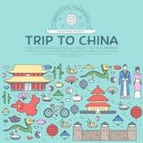 Kraj podróży wakacje Porcelanowy przewdonik towary, miejsca w cienkim linia stylu projekcie Set architektura, moda, ludzie Zdjęcie Stock